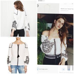 Maje lioni tassel boho blouse top embroidered